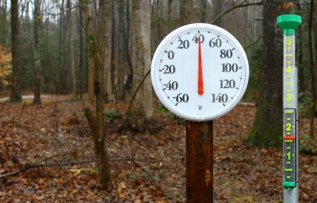 A new outdoor spring thermometer on a pole reading the outdoor winter temperature and a wet rain gauge with rain in it using a shallow depth of field and selective focus with room for your text.