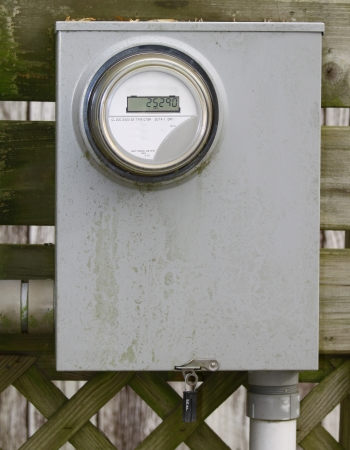 An old dirty modern digital electrical metering box photo
