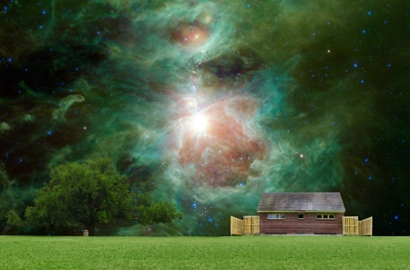 Another world outdoor park concept with the Orion Nebula in the background. photo