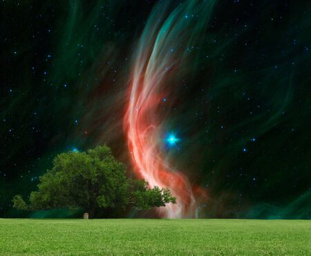 A large Oak tree with the giant star Zeta Ophiuchi in the background.Elements of this image furnished by NASA.