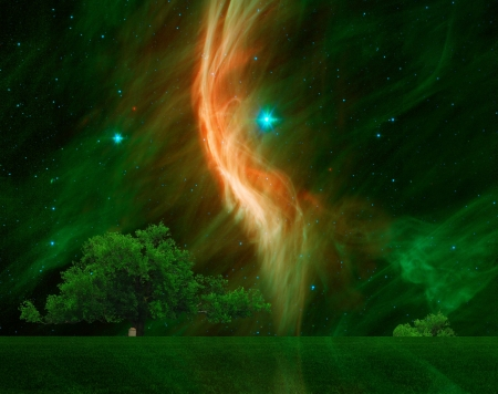 A large Oak tree with the giant star Zeta Ophiuchi in the background.Elements of this image furnished by NASA. photo