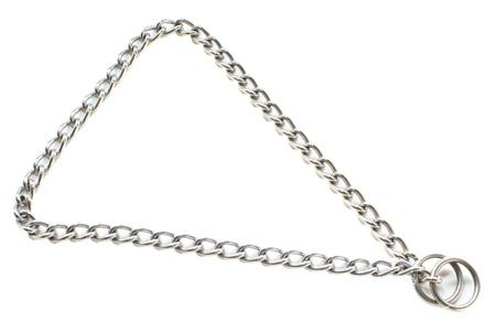 choke: A dog choke chain training collar on white