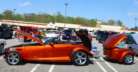 prowler: GLOUCESTER, VA- APRIL 13:A Prowler & trailer in the Daffodil car show sponsored by the MPCC(middle peninsula car club)at the Main St shopping center in Gloucester, Virginia on April 13, 2013