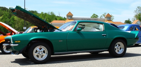 GLOUCESTER, VA- MAY 25: Green Z28 Camaro in the (middle peninsula car club) relay for life car show at the Main St shopping center in Gloucester, Virginia on May 25, 2013