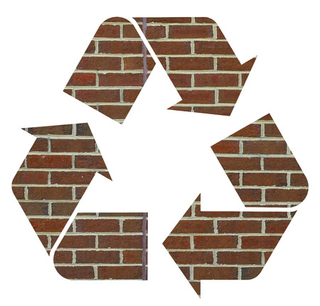 international recycle symbol: The international Recycle Symbol made of an old red brick wall, Isolated On White Background