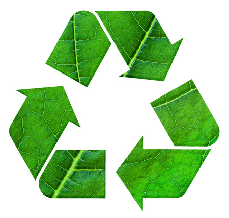 international recycle symbol: The international Recycle symbol with leaf texture, isolated on white background