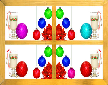 egg nog: Seasonal holiday Christmas decorations, egg nog and a candy cane as seen through a wooden framed window