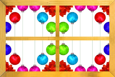 A bright vivid colorful display of Chrismas ball decorations and poinsettia photo