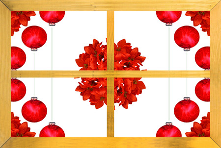 A Christmas design seen through a wooden window frame with poinsettia and  red Christmas ball decorations on white Stock Photo - 24712835