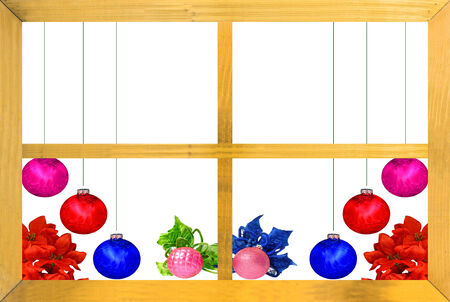 A Christmas design with red,violet,blue and pink Christmas balls, poinsettia leaves as seen through a wooden window frame isolated on white with room for your text photo