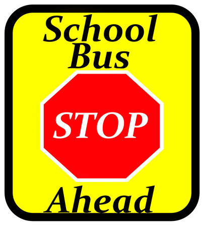 An illustration of a new style School Bus Stop ahead sign