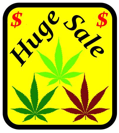 Een illustratie van een enorme verkoop teken voor marihuana Stockfoto