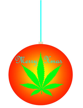 An isolated christmas decoration with a marijuana leaf icon on it