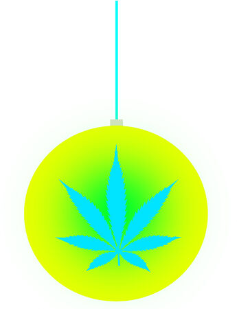 An isolated christmas ball ornament with a marijuana leaf icon on it photo