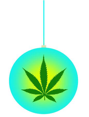marihuana leaf: Un aislado adorno navide�o pelota con un icono de hoja de marihuana en �l