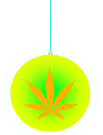 An isolated christmas ball ornament with a marijuana leaf icon on it