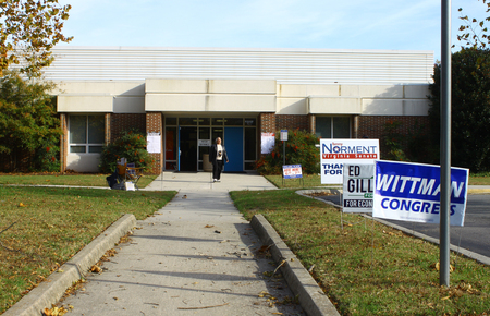 congressman: GLOUCESTER, VA - NOVEMBER 04, 2014: Botetourt Elementary School, Ware district, Botetourt precinct polling location to vote for Congressman, Senator and House members for 2014 mid term elections