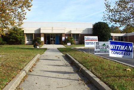 senate race: GLOUCESTER, VA - NOVEMBER 04, 2014: Botetourt Elementary School, Ware district, Botetourt precinct polling location to vote for Congressman, Senator and House members for 2014 mid term elections