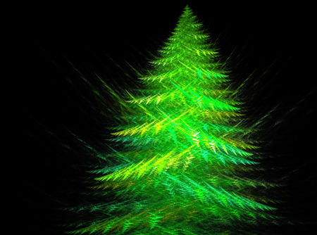 A fractal abstract of a Christmas tree on black