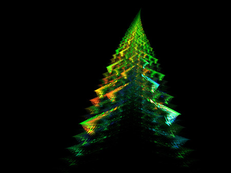 A fractal abstract of a very colorful Holiday Christmas tree on black.