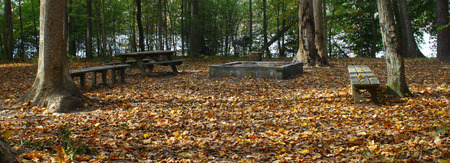 A campsite outside deep in the woods along a reservoir during a fall day covered in freshly fallen leaves