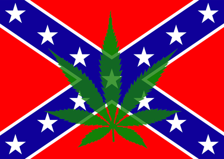 wacky: The confederate flag with a seven point marijuana leaf overlaid onto it to create an illustration of times gone past and times of the present