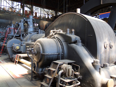 steel works: Machine Engine - The Lower Area Vitkovice, Ostrava, Czech Republic - Piston Blower, Which Supplied Iron and Steel Works with Air