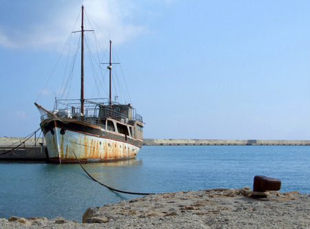 old ship: Old Ship Tied up at the Harbour