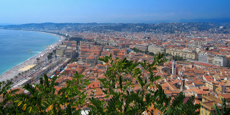 french riviera: Beautiful Panorama City of Nice In France  Nice View of Cityscape With the Promenade des Anglais and the beach, Nice, French Riviera, France