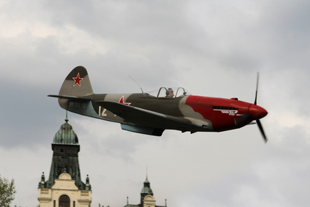 undercarriage: OSTRAVA, CZECH REPUBLIC - APRIL 30, 2015: Combat Plane YAK-3, Yakovlev, 70-th Anniversary of the Liberation of Ostrava on April 30, 2015 in Ostrava, Czech Republic. World War II Fighter Plane Smallest.