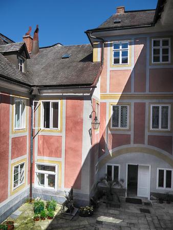 olomouc: Javornik Town, Czech republic - August 20, 2011: Paved Courtyard of National Monument Jansky Hill (Jansky Vrch) Castle, Olomouc Region Editorial