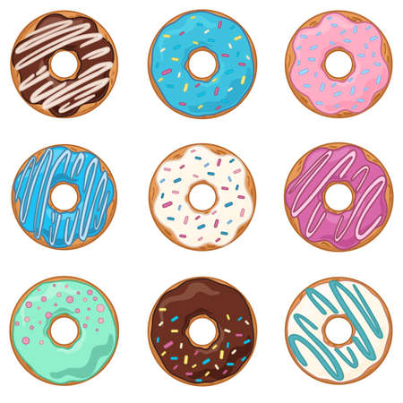 Vector set of sweet donuts. Illustration isolated on white background. Sweets and desserts in cartoon style
