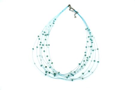 Blue necklace with beads isolated on the white. Stock Photo - 1398641