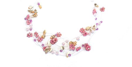 Wonderful necklace with pink flowers and sea-shells. Stock Photo - 1398635