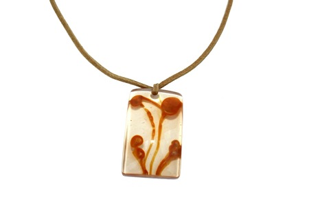 Nice brown necklace isolated on the white. Stock Photo - 1398631