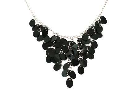 Nice black necklace isolated on the white. Stock Photo - 1398656