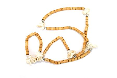 Nice brown necklace isolated on the white. Stock Photo - 1398658