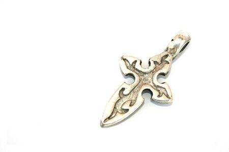line lines luxury meeting: Ancient style silver cross isolated on the white.