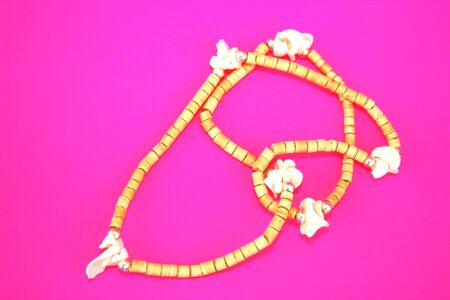 Nice brown necklace isolated on the pink. Stock Photo - 1511174