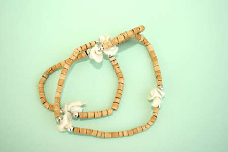 Nice brown necklace isolatedon the green. Stock Photo - 1511170