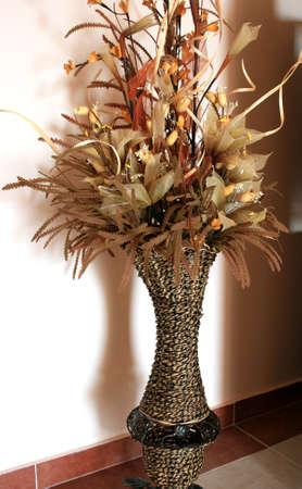 Dry beautiful flowers in nice brown vase. Stock Photo - 1675508