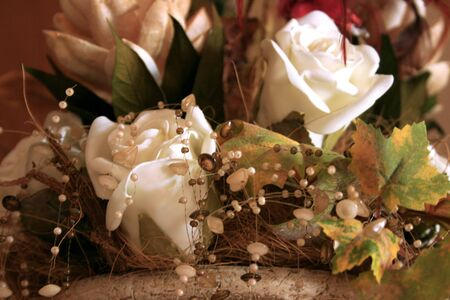 Dry beautiful white roses in the vase. Stock Photo - 1675503