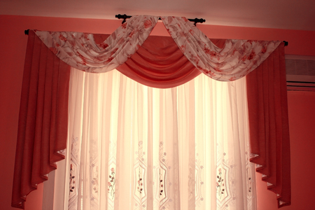 yellow tassel: The picture of luxurious curtain at home.