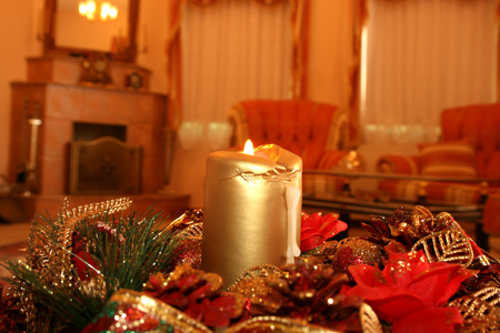 Christmas still and happy life with candle. Stock Photo - 1695821