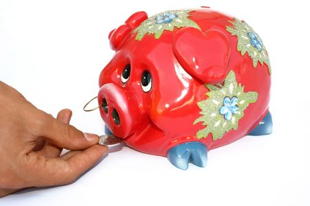 Red piggy bank isolated on the white.