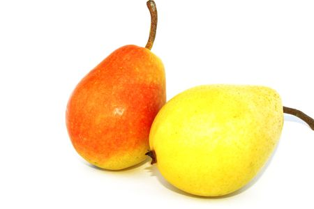 Red and yellow pears isolated on thw white. photo