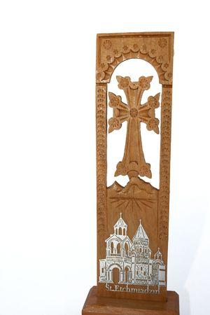 armenian: Armenian cross with mountain Ararat and church. Stock Photo