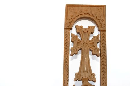 armenian: Armenian wooden cross isolated on the white.