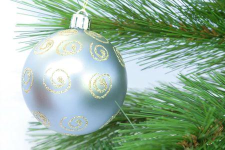 Christmas gray ball and fir-tree. photo