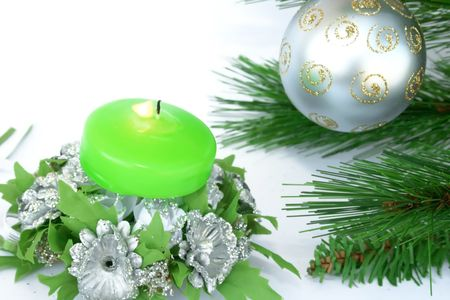 Christmas ornaments.Gray ball,fir-tree,candle,flowers. Stock Photo - 2096808